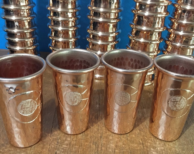 """4-pack of 1.5oz Pure Hammered Copper Shot Glass with Colorado """"C"""" hand engraved logo"""