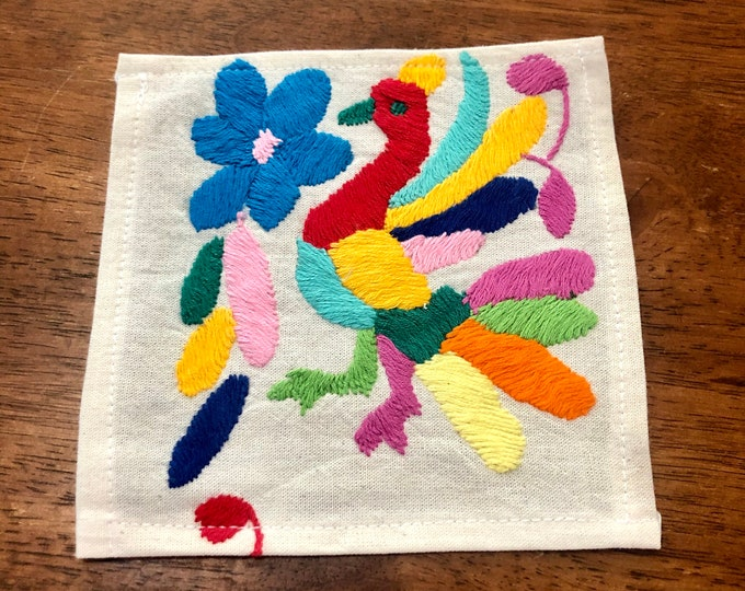 """Otomi hand embroidered muslin coaster/cocktail napkin/frame-able art - with bird- approx. 6"""" x 6"""""""