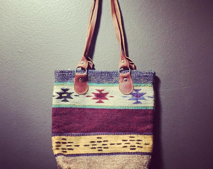 """Zapotec hand woven merino wool purse 14"""" x 15"""" (w x h) with 12"""" leather straps"""