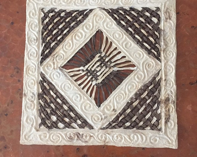 Handmade Amate Paper Wall Art with woven design
