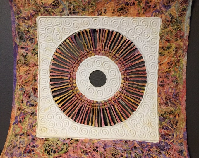 "Amate Bark Paper Wall Art with multicolor lace and circle design (15 1/2"" x 15 1/2"")"