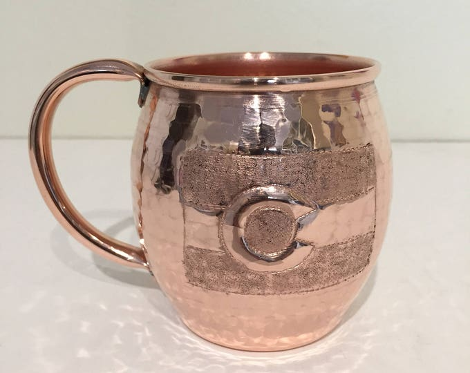 13oz Moscow Mule Hammered Copper Barrel Mug with Colorado Flag engraving