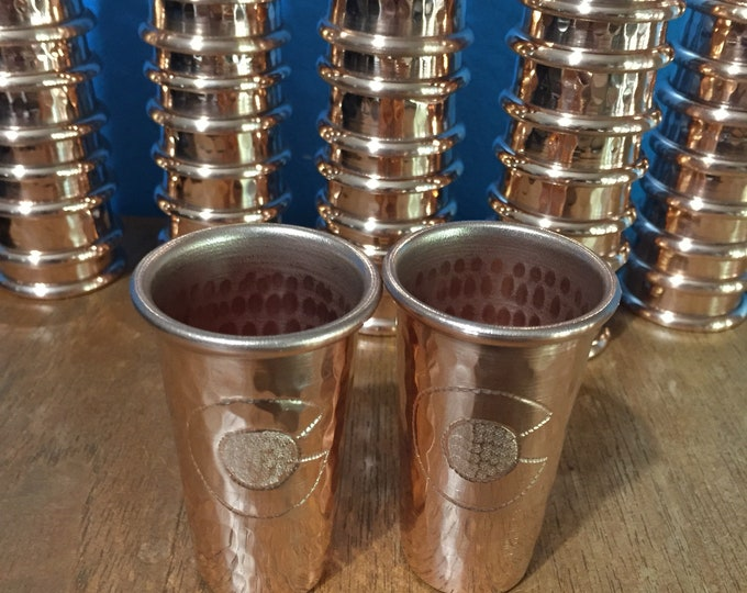 """2-pack of 1.5oz Pure Hammered Copper Shot Glass with Colorado """"C"""" hand engraved logo"""
