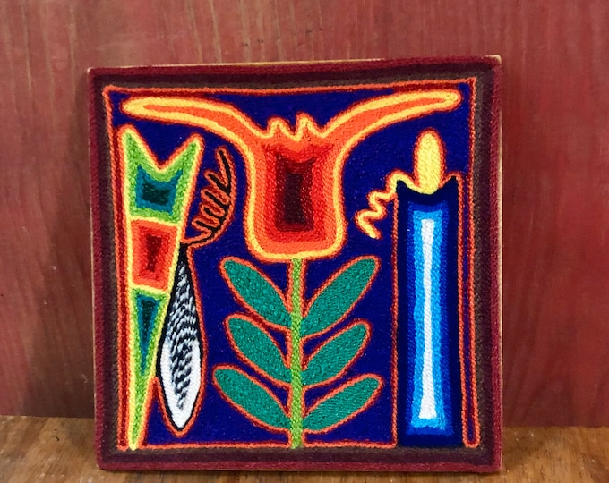 "Huichol Yarn Art 6"" x 6"" - Sacred Symbols from Nayarit, Mexico"
