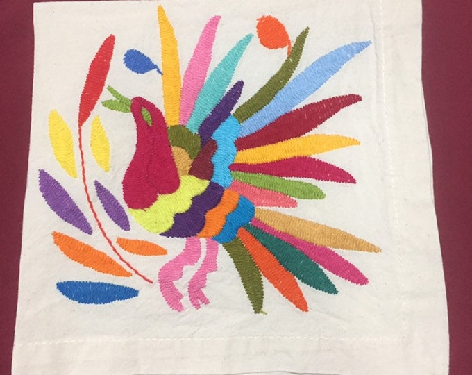 "Otomi hand embroidered 19"" x 19"" muslin napkin with bird"