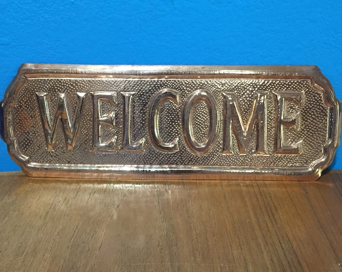 "Hammered Copper Welcome Sign (12""x4"")"