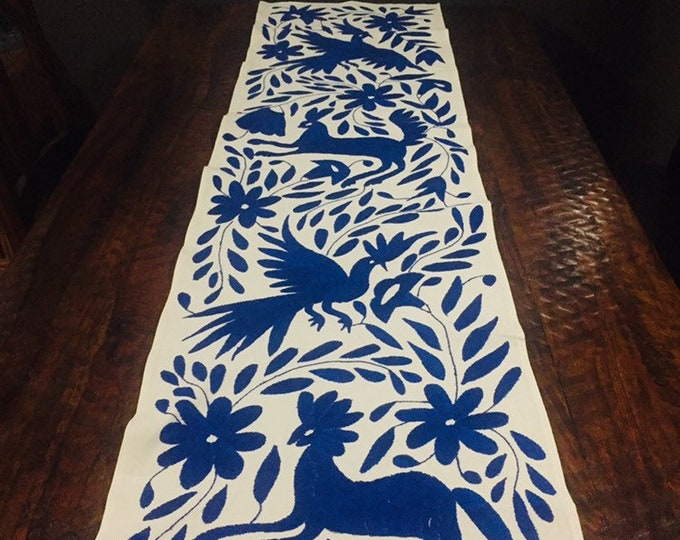 Otomi Hand Embroidered Table Runner / Bed Scarf / Frame-able Art - Indigo Blue
