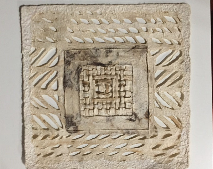 Handmade Amate Paper Wall Art with woven square
