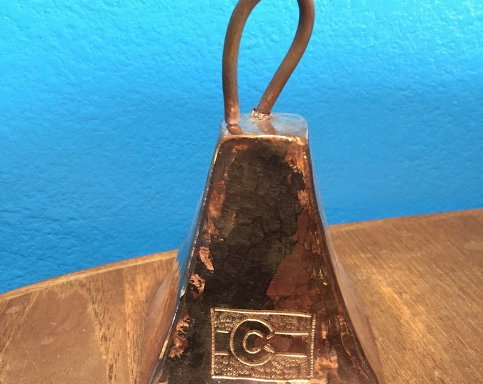 """Pure Hammered Copper Cowbell with Colorado Flag engraving (5"""")"""