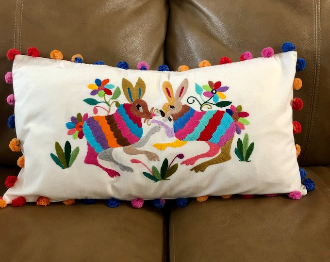 Otomi hand embroidered decorative pillow with spirit animal.