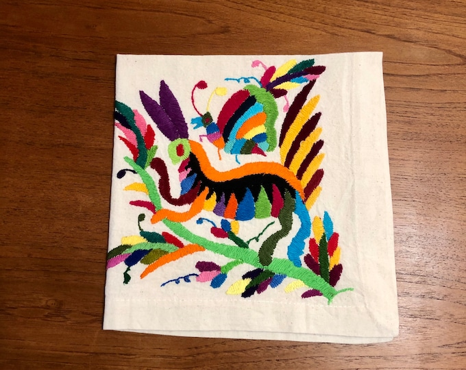 "Otomi hand embroidered 19"" x 19"" muslin napkin - with spirit animal - multi-colored"
