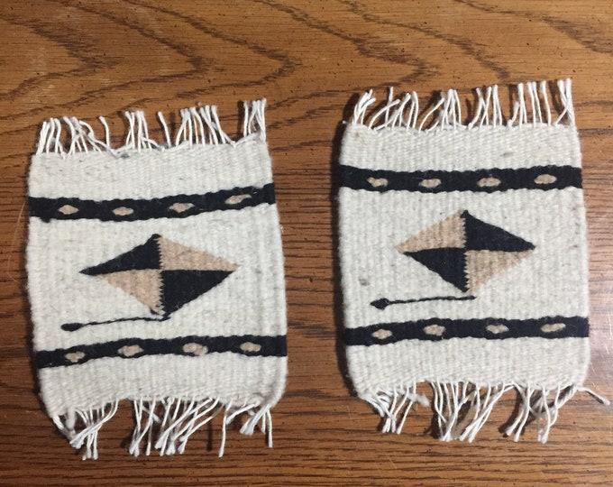 "Zapotec hand woven merino wool coaster set of two (5 1/2"" x 5"")"
