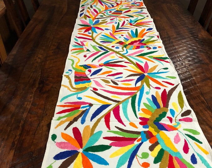 """Otomi Hand Embroidered Table Runner or Bed Scarf - Multi-color (approx. 72"""" x 16"""")"""