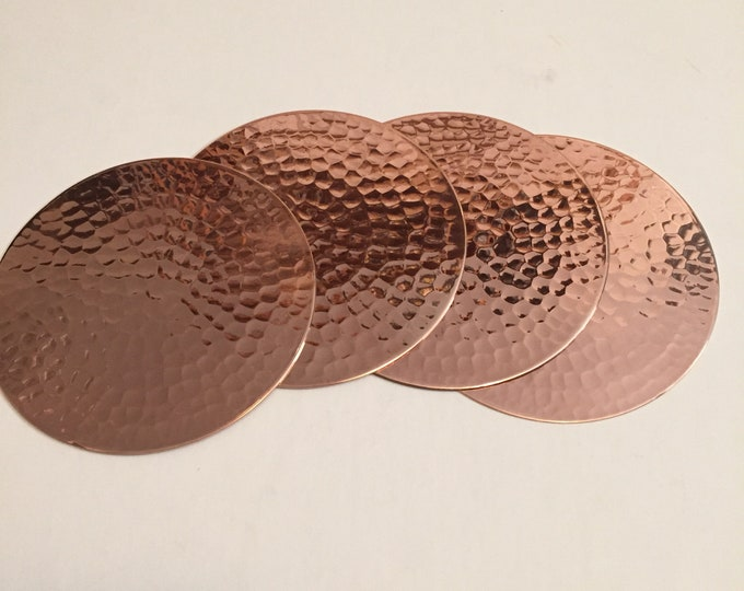 Set of 4 Hammered Copper Coasters
