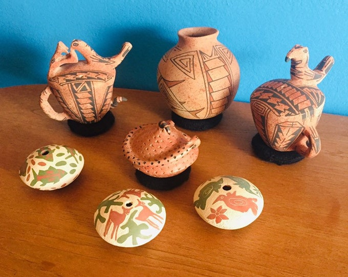 Lot of 7 Mata Ortiz small olla and seed pots