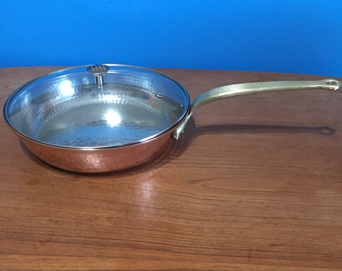 Handcrafted 10-inch Hammered Copper Saute Pan with Glass Lid