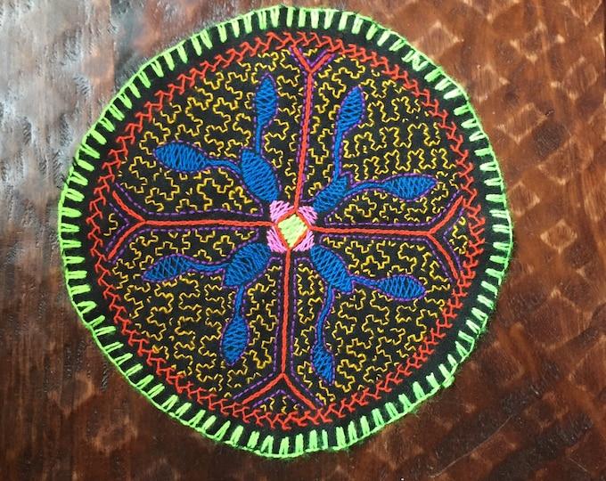 "Peruvian hand embroidered round table coaster (8 1/2"" diameter)"