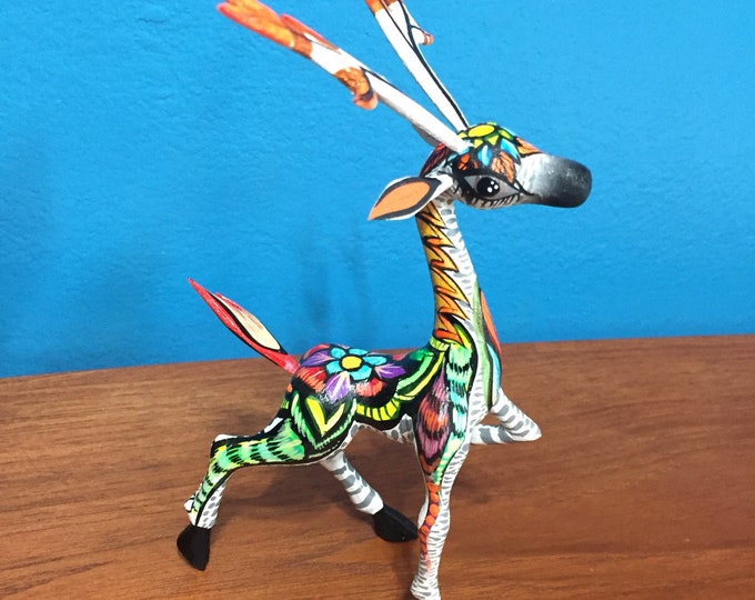 Handcrafted Alebrije Deer Woodcarving from Oaxaca, Mexico