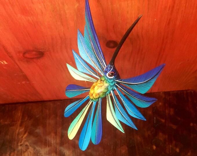 Alebrije Blue Hummingbird by Roberto and Esperanza Martinez