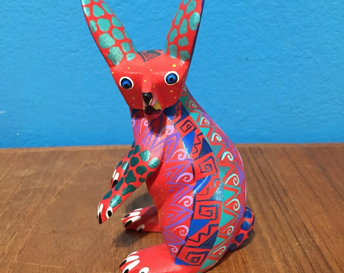 Alebrije Rabbit Handcrafted Wood Carving by Zeny Fuentes & Reyna Piña from Oaxaca, Mexico.