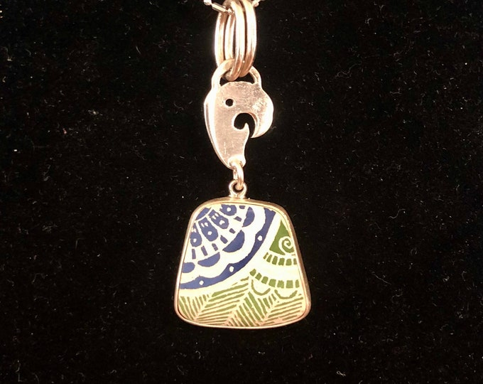 One of a Kind Mata Ortiz Sterling Silver Pendant - unique indigenous ceramic pottery shard set in a .950 pure silver bezel