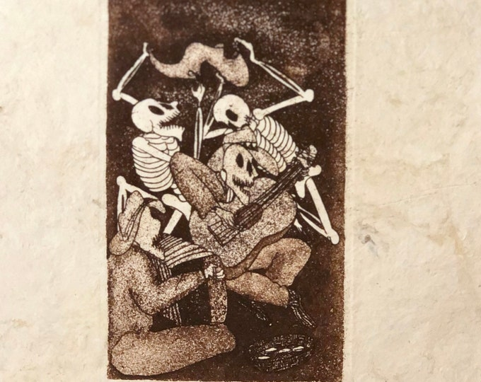 El Cantadors (The Singers) by Nicolas de Jesus. Limited Edition Aquatint print on Amate bark paper.