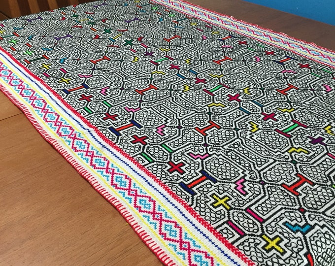 "Peruvian hand embroidered Shipibo table runner (approx. 26"" x 69"")"