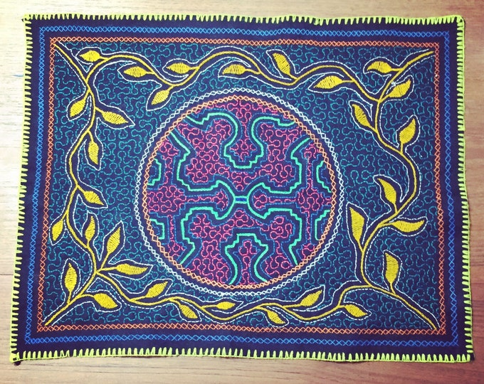 "Peruvian hand embroidered Shipibo placemat (approx. 18"" x 14"")"