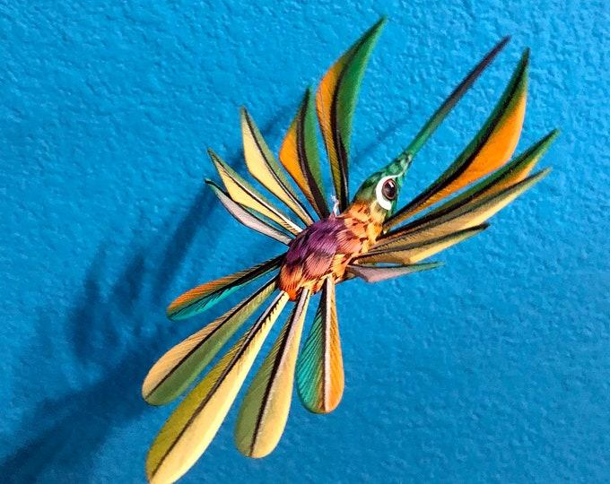 Alebrije Green and turquoise Hummingbird by Zeny Fuentes & Reyna Piña from Oaxaca, Mexico