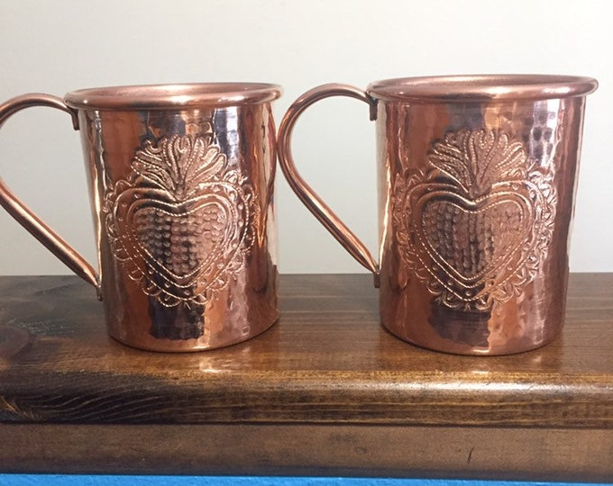 2-pack of 16oz Moscow Mule Copper Mugs, hammered with Milagro Heart engraving