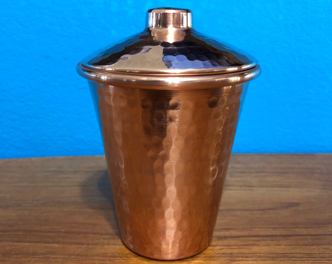 12oz Pure Hammered Copper Tumbler Water Cup with Lid