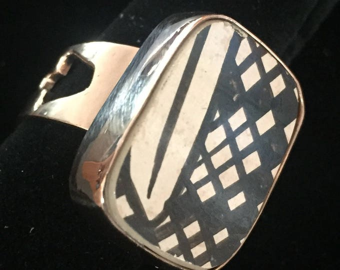One of a Kind - Mata Ortiz adjustable Ring - set in 100% pure copper