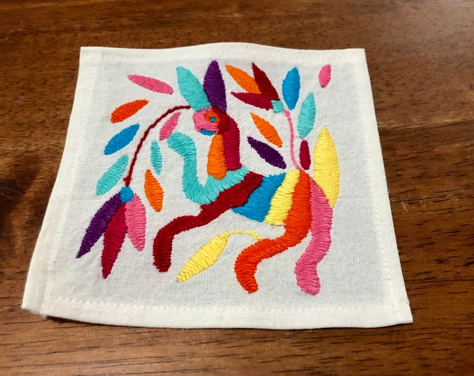 "Otomi hand embroidered muslin coaster/cocktail napkin/frame-able art - with spirit animal. approx. 6"" x 6"""