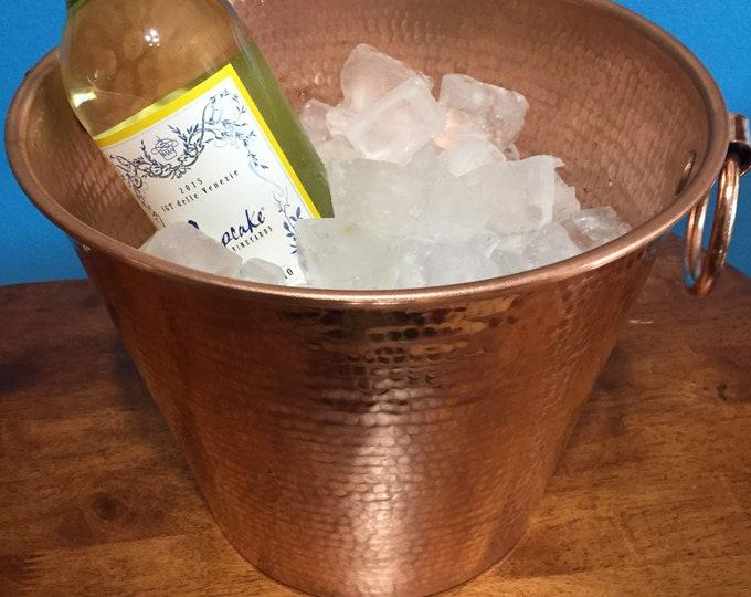 "Hammered Copper wine bottle chiller / ice bucket (10 1/2"" diameter)"