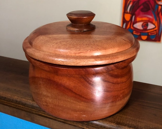 Hand carved wood serving bowl with lid made of Guamuchil wood from Mexico