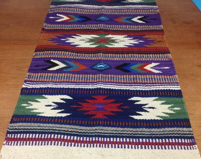 Purhépecha hand woven wool table runner