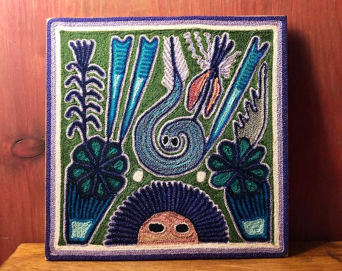 "Huichol Yarn Art 8"" x 8"" - Sacred Symbols from Nayarit, Mexico"