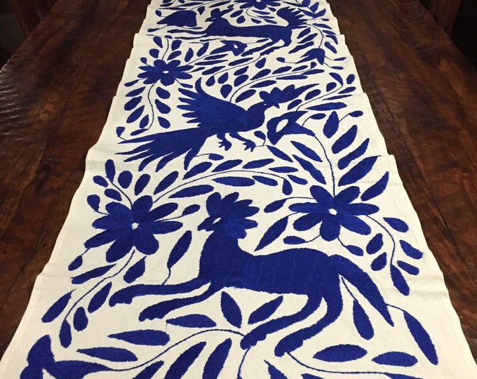 Otomi Hand Embroidered Table Runner - blue
