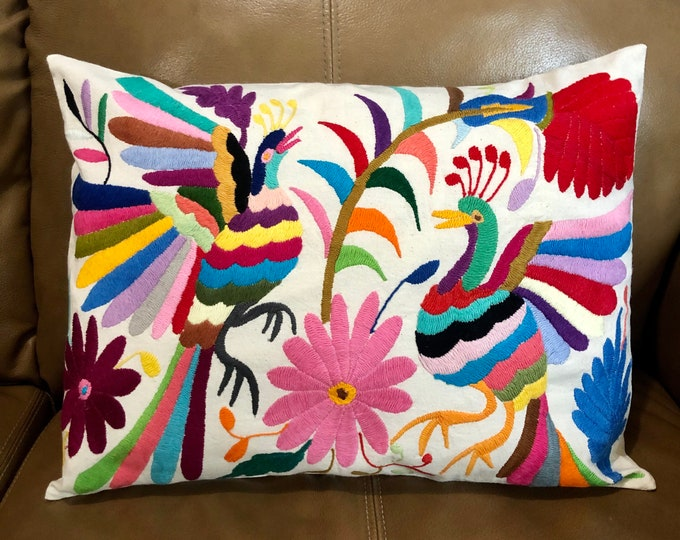 "Otomi hand embroidered approx.16"" x 11"" pillow case with birds and flowers."