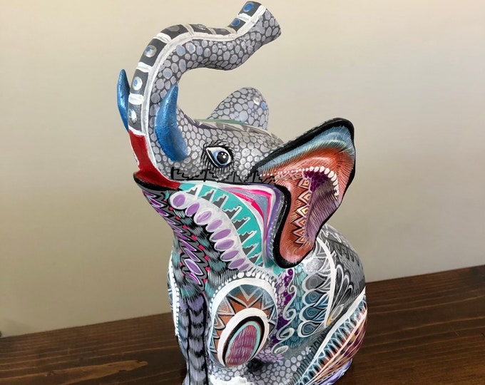 Handcrafted Alebrije Elephant Woodcarving by Esperanza and Roberto Martinez from Oaxaca, Mexico