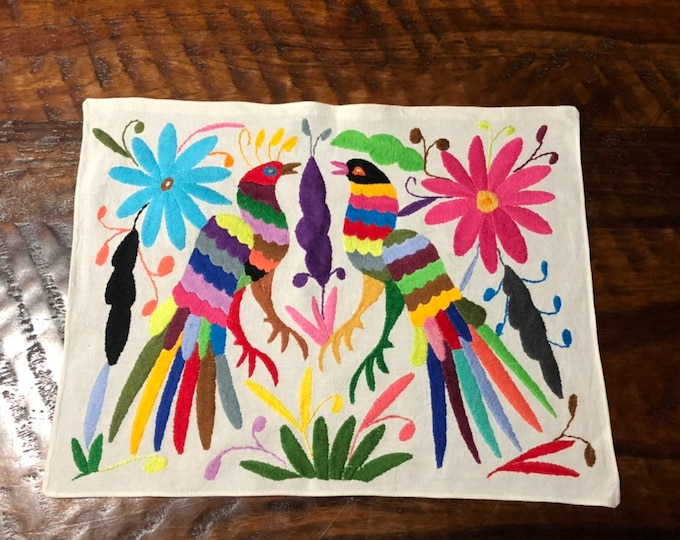 "Hand embroidered Otomí placemat / frame-able art- (approx. 17"" x 13"") - multi-color"