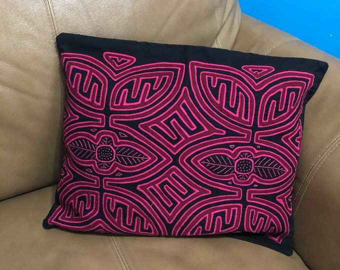 "Hand Stitched Kuna Mola Art Pillow (approx. 16"" x 13"")"