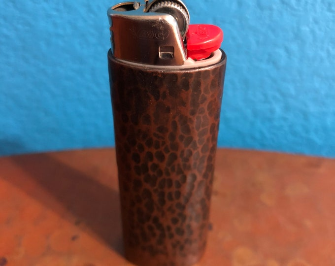 Handcrafted Pure Copper Lighter Cover with Hand Hammered Texture and Brown Patina Finish