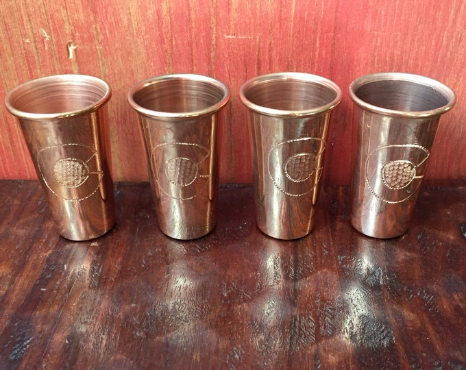 "4-pk of 1.5oz Pure Copper Shot Glasses with Colorado ""C"" hand engraved logo"
