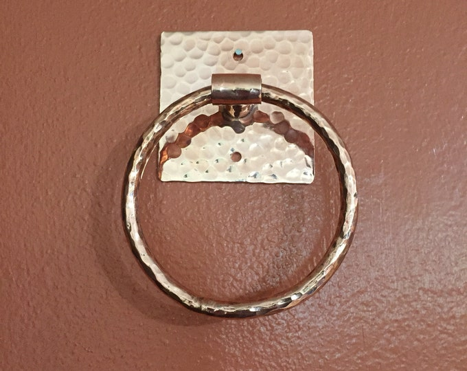 Handcrafted hammered copper towel ring