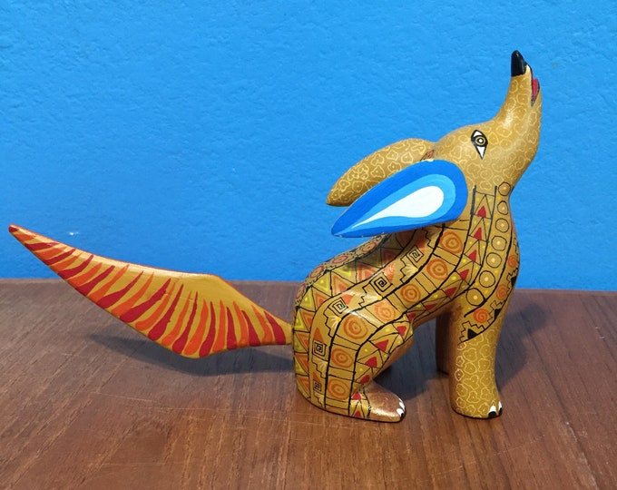 Alebrije Coyote Handcrafted Wood Carving by Zeny Fuentes & Reyna Piña from Oaxaca, Mexico.