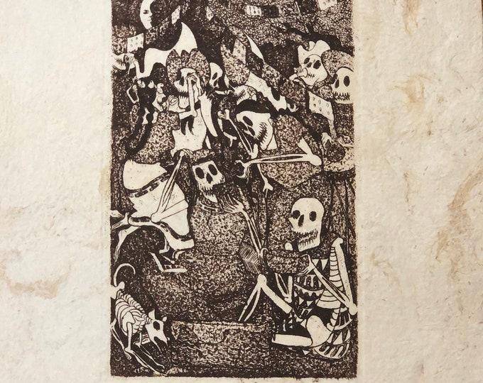 Celebración (Celebration) by Nicolas de Jesus. Limited Edition Aquatint print on Amate bark paper.