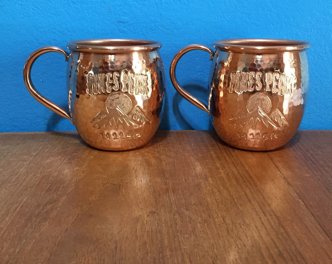 2-pack of 16oz Moscow Mule Hammered Copper Barrel Mug with Pikes Peak and mountains logo