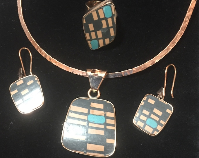 One of a Kind Mata Ortiz Three Piece Jewelry Set -Pottery Shards set in Copper