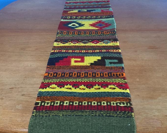 """Zapotec hand woven merino wool table runner 40"""" x 10"""""""